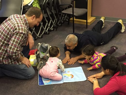Fathers and children at The Fatherhood Projects Dads and Kids Activity Group at MGH Revere HealthCare Center